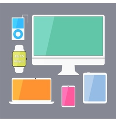Modern business ui devices set - display digital vector image vector image