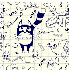 Seamless pattern with doodle cats vector image