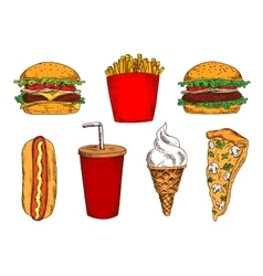 Sketched fast food lunch with soda and ice cream vector image vector image