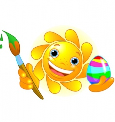 sun coloring Easter egg vector image vector image