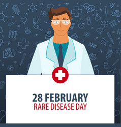 28 february rare disease day medical holiday vector