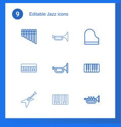 9 jazz icons vector image