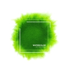 Abstract green watercolor background with frame vector image