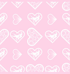 abstract lace hearts seamless pattern love print vector image