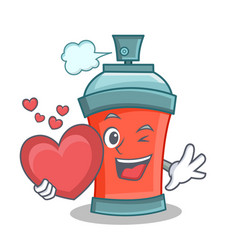 Aerosol spray can character cartoon with heart vector