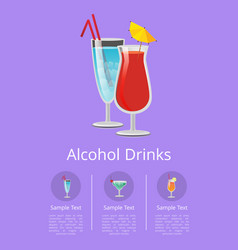 Alcohol drinks advertising poster icons beverages vector
