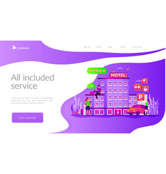 All-inclusive hotel landing page template vector