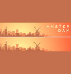 Amsterdam beautiful skyline scenery banner vector