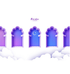 arabic window arch in paper cut style origami vector image