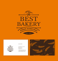 Bakery logo pastry identity business card pattern vector