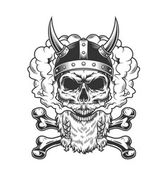 bearded and mustached viking skull vector image