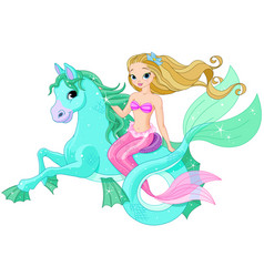 beautiful mermaid riding sea horse vector image