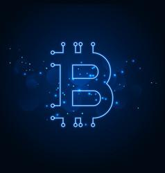 Bitcoin technology network digital background vector