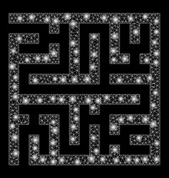bright mesh wire frame maze with flare spots vector image