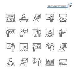 business presentation line icons editable stroke vector image