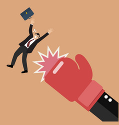 Businessman punched by his boss big hand vector