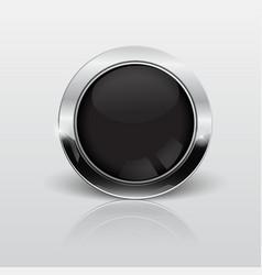 button web glossy black metallic vector image