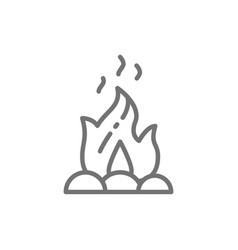 Campfire fire bonfire line icon vector