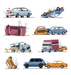 Car crash and damaged vehicles road accident vector