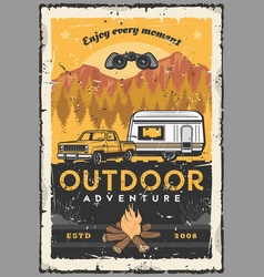 car rv and campfire outdoor adventure travel vector image