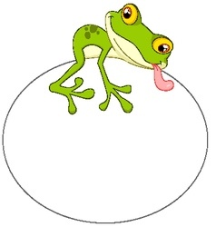 Cartoon frog with big egg vector