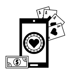 cellphone banknote application casino game bet vector image
