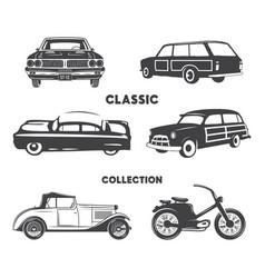 classic cars vintage car icons symbols vintage vector image