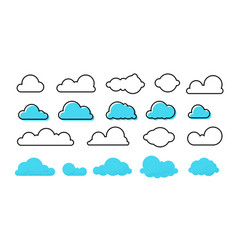 Clouds set trendy different flat clouds with vector
