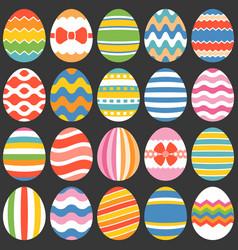 colourful easter eggs flat design set 1 vector image