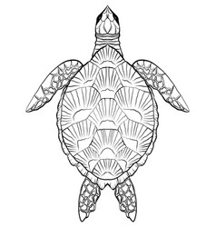 contour black and white of turtle the object is vector image