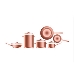 Copper utensils for professional kitchens of vector