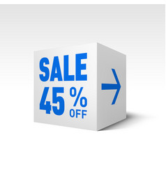 Cube banner template forty-five percent off vector
