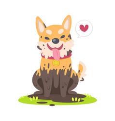 Cute muddy dog sitting on grass floor vector
