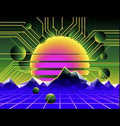 Cyber landscape poster vector
