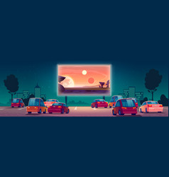 Drive-in movie theater with cars open air cinema vector
