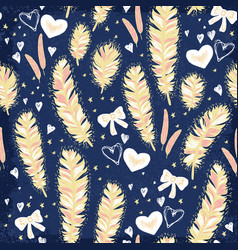 feathers with pink bows seamless pattern vector image