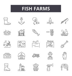 Fish farms line icons for web and mobile design vector