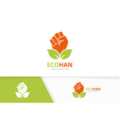 Fist and leaf logo combination hand and vector