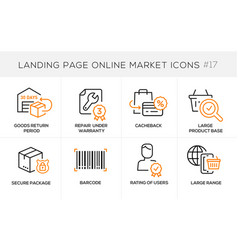 Flat line design concept icons online shopping e vector