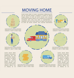Flat successful moving home cartoon vector