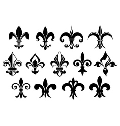 Fleur de lys vintage design elements vector