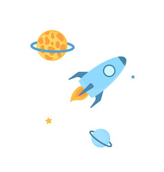 frame with spaceship planets and stars in open vector image