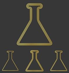 Golden line chemistry logo design set vector