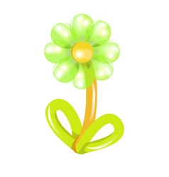 Green and yellow flower balloon vector