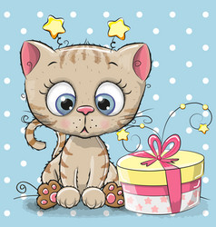 Greeting card cute kitten with gift vector