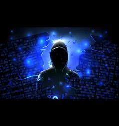 Hacker using internet hacked abstract vector
