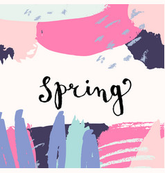 Hand drawn abstract colorful spring greeting card vector