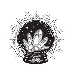 Hand drawn magic crystal ball with gems and stars vector