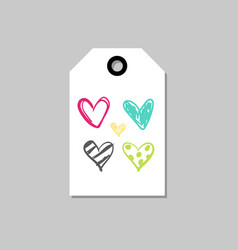 hand drawn tag with cute doodle hearts love card vector image