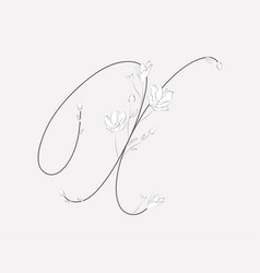 Hand lettering floral x monogram and logo vector